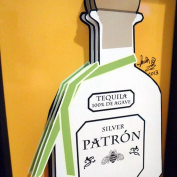 Patron Tequila Kitchen Art Liquor Bottle 3D Pop Artwork Alcohol