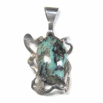 Large Vintage Mexican Sterling Turquoise Pendant