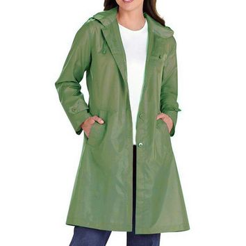American Style 2017 New Waterproof Trench Coat Hooded For Women  Long Sleeve Raincoat Women's Windbreaker Plus Size XXXL