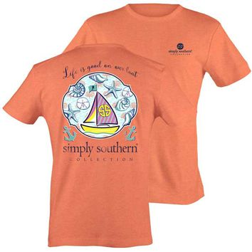 Simply Southern Preppy Collection Life is Good T-shirt for Women PRPSHELL-SALMON-SS