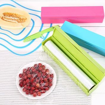 Kitchen Creative Tool Plastic Food Wrap Cling Film Dispenser Aluminum Foil Wax Paper Cutter Cutting Box 3 Colors YL972052