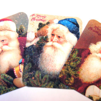 Gorgeous Old Fashioned Santa Claus Christmas Gift Tags Set of 6 Vintage Inspired