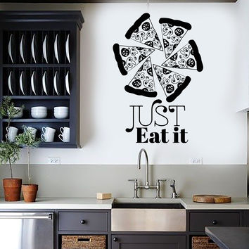 Vinyl Wall Decal Pizzeria Art Mural Pizza Funny Quote Food Stickers Mural Unique Gift (ig4952)