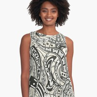 """Polynesian Abstract Tribal Tapa Print"" Graphic T-Shirt Dress by sunnthreads 