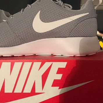 NEW Mens Nike Roshe Run One Athletic Shoe Wolf Grey / White 511881-023 ALL SIZES