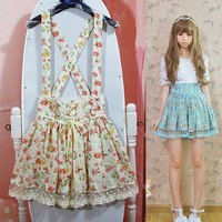 Retro Floral Cutie Doll Suspender Skirt With Detachable Straps from Moooh!!