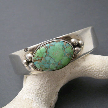 Sterling Turquoise Cuff Bracelet Green Blue Vintage Jewelry B6715