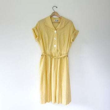 80c49bb6edf9c Vintage Checkered Dress. Yellow White 50s Picnic Dress. Short Sleeve Shirt  Dress. Button Front Dress. Basic House Day Dress. Large XL