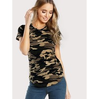 Curved Hem Camo T-shirt Multicolor