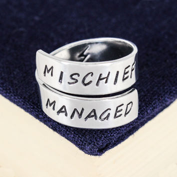 Mischief Managed - Harry Potter - Adjustable Aluminum Wrap Ring