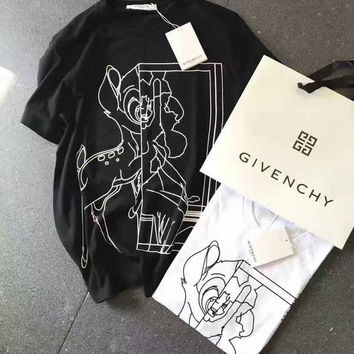 Givenchy Woman Men Fashion Deer Print Scoop Neck Tunic Shirt Top Blouse