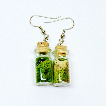 Terrarium Jewelry, Moss Earrings, Glass Bottle Earrings, Botanical Jewelry, Woodland Earrings, Preserved Plant, Boho Earring, Gift for Her E