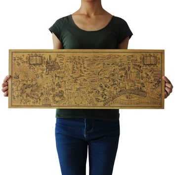 Free shipping Harry Potter Magic world map Famous view kraft paper Cafe bar poster  Retro Poster decorative painting 72x26cm