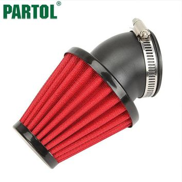 Partol Red Motorcycle Air Filter 35mm 42mm 48mm Cleaner Clamp-on 45 Degree Bend Air Intake Filters For Kawasaki Honda Suzuki