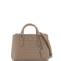 Robinson Floral-Perforated Mini Tote, French Gray - Tory Burch