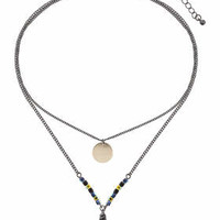 Semi-Precious Shard Disc Necklace - Black