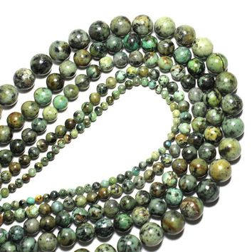AAA+Natural Round Shape Natural African Turquoises Stone Round Loose Beads For Jewelry DIY Bracelet Making 4mm 6mm 8mm 10mm 12mm