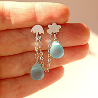 Double Chain Earring - Silver Cloud and Umbrella Stud Earrings with Blue Rain Drop Glass Beads