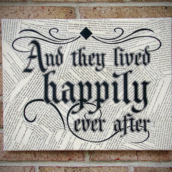 And They Lived Happily Ever After Sign - Wedding Art/ Wedding/ Engagement/ Bridal Shower/ Anniversary Gift