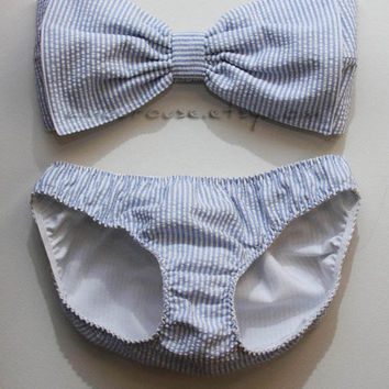 Seersucker bow bandeau set - Made to order