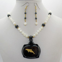 Hematite Dolphin Mother of Pearl Pendant Necklace Earrings Set Natural Stone Jewelry
