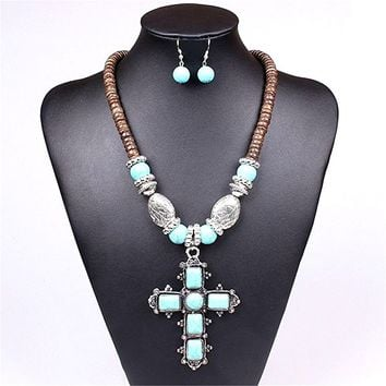 Affordable Turquoise Silver Cross Brown Beads Western Cowgirl style Necklace Earrings Set Gift Bijoux