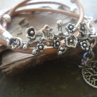 SILVER BRANCH & TREE leather wrap bracelet with branch (563)