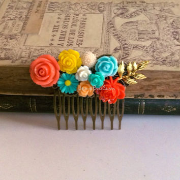 Coral Hair Comb Aqua Yellow Wedding Comb Flower Hair Slide Peach Turquoise Mint Bridesmaid Gift Woodland Gold Leaf Hair Comb for Bride