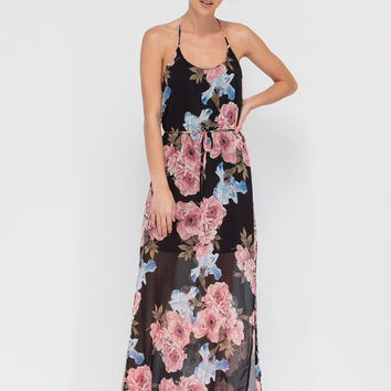 Rosy View Floral Double Slit Maxi Dress