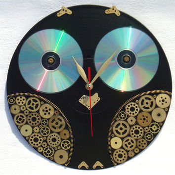 Wall Clock Steampunk Owl, steampunk wall clocks, home and living, home decor, black wall clock, unusual wall clocks, owl wall clocks
