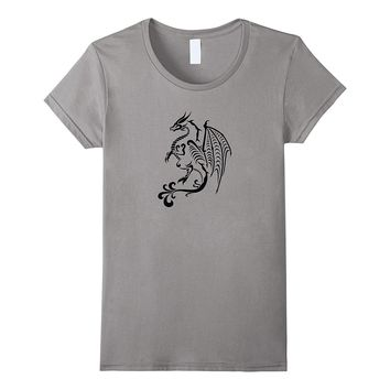 Sleek Silhouette Native Dragon Shadow Graphic Print T-Shirt