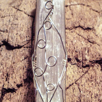 Selenite wire wrapped pendant wand
