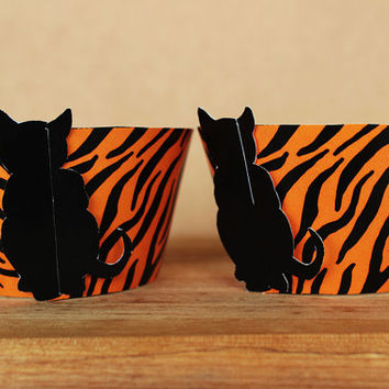 Printable 3D Black Cat Cupcake Wrapper Set with Jungle Print Tiger Stripes  - INSTANT DOWNLOAD