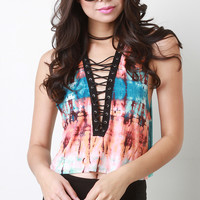 Tie Dye Deep V Laced Crop Tee