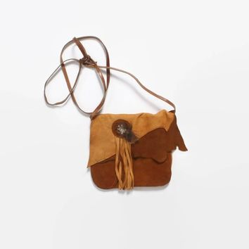 Vintage 70s Leather PURSE / 1970s Deerskin Native StyleFeathered Boho Shoulder Bag