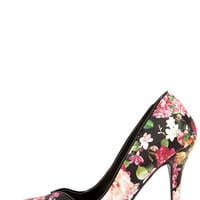 Flirty Florist Black Floral Print Pumps