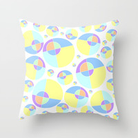 Bubble yellow & blue 08 Throw Pillow by Zia