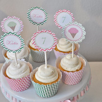 Chevron Ice Cream Party Cupcake Toppers