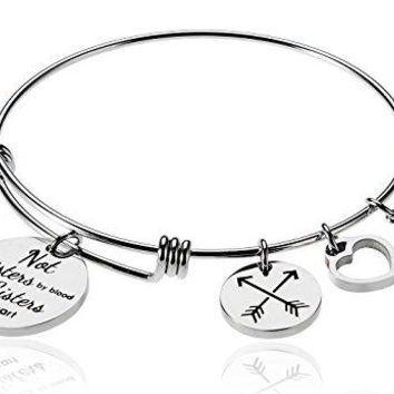 Borivilla Not Sisters By Blood But Sisters By Heart Charm Imitation Birthstone Month Best Friend Friendship Arrow Charm Bead Expandable Wire Bangle Bracelet For Women Girl 268quot