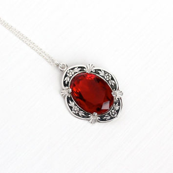 Vintage Art Deco Sterling Silver Repousse Flower Red Glass Stone Pendant Necklace - 1940s Oval Dark Red Glass Stone Floral Design Jewelry