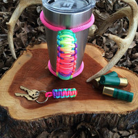 Paracord Yeti Rambler Handle Grip for 20 or 30 oz. Tie Dye with free matching keychain
