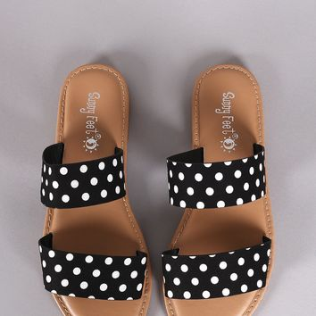 Sunny Feet Printed Double Band Slide Flat Sandals