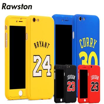 Hybrid 360 Full Body Case with Glass for Apple iPhone 8 Plus 8Plus Air 23 Michael Jordan Bryant curry funda for iPhone8 capinhas