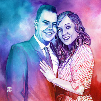COUPLE WATERCOLOR PORTRAIT - Modern illustration - Anniversary wedding gift