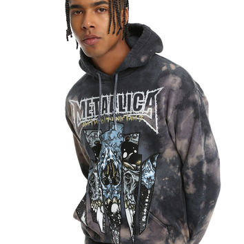 Metallic Dirty Window Bleach Wash Hoodie