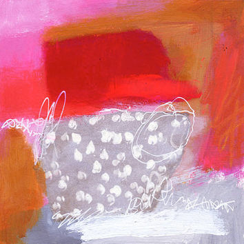 Modern Art Abstract Painting – Small Original Acrylic 8 x 8 Red, White and Pink Textured Design