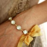 Vintage Jewel Bracelet with Gold Ribbon The by dreamyvintage