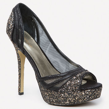 bebe Womens Illuma Glitter Pumps