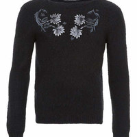 TMD Black Fluffy Flower Embroidery Jumper* - Men's Cardigans & Sweaters - Clothing
