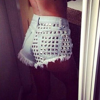 Blue High Waisted with Rivet Hole Denim Shorts